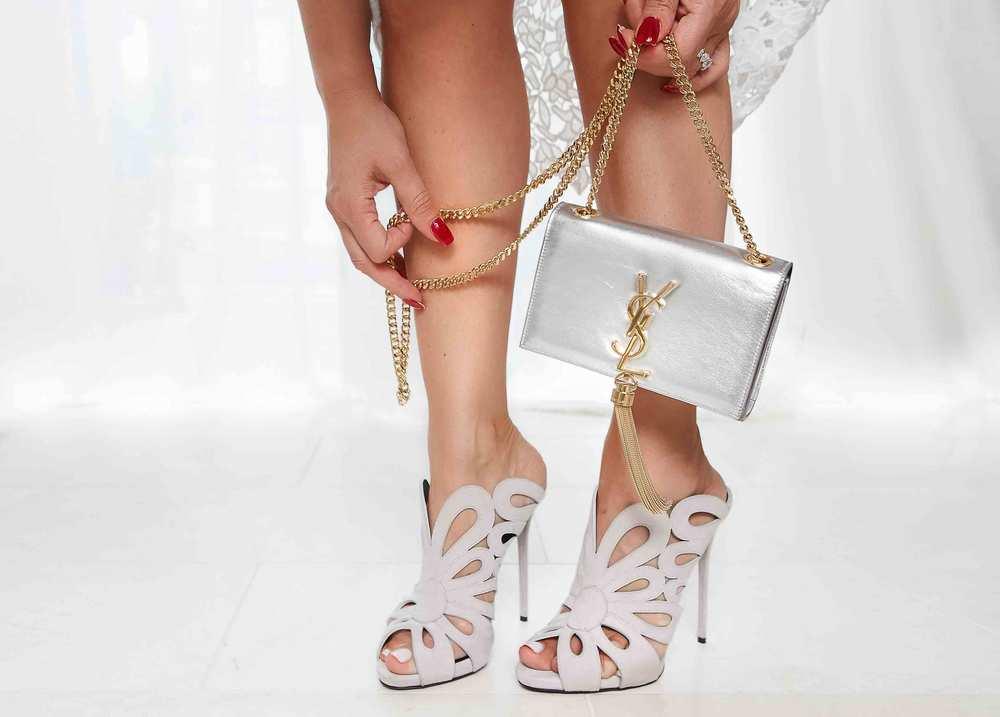 Balenciaga Cut Out Mule and Saint Laurent Mini Chain Tassel Bag