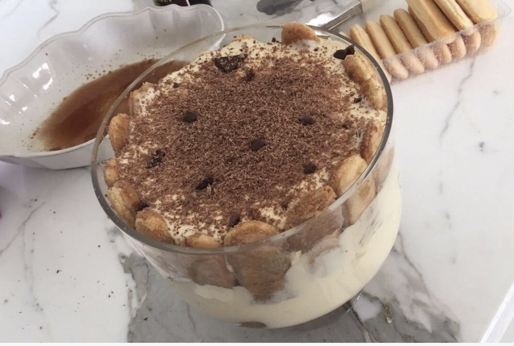 Tiramisu with grated chocolate on top