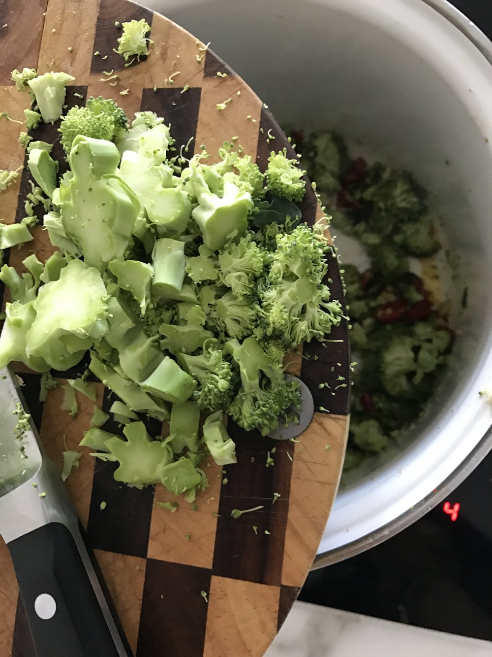 Chop up the broccoli