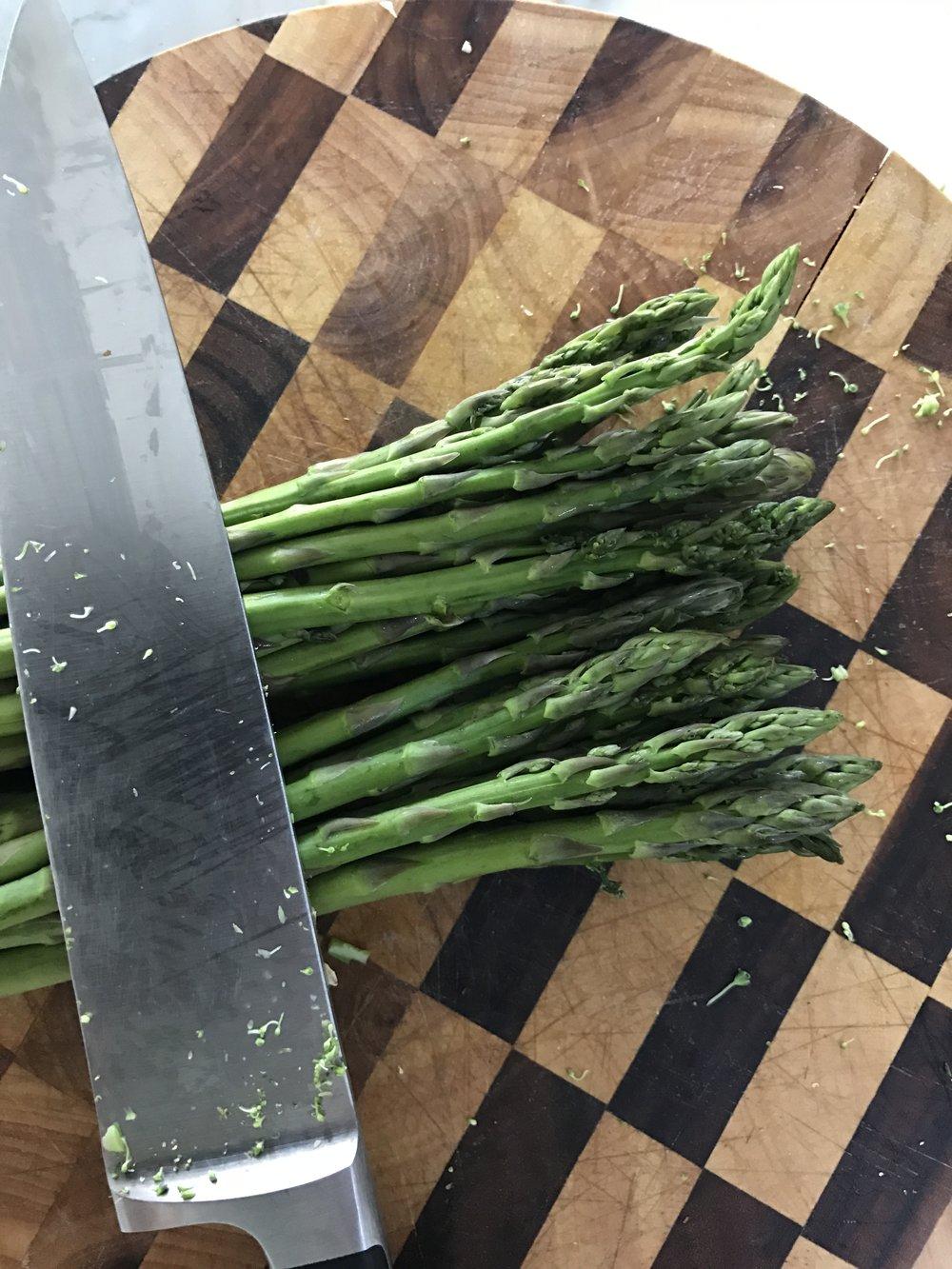Chop up the asparagus