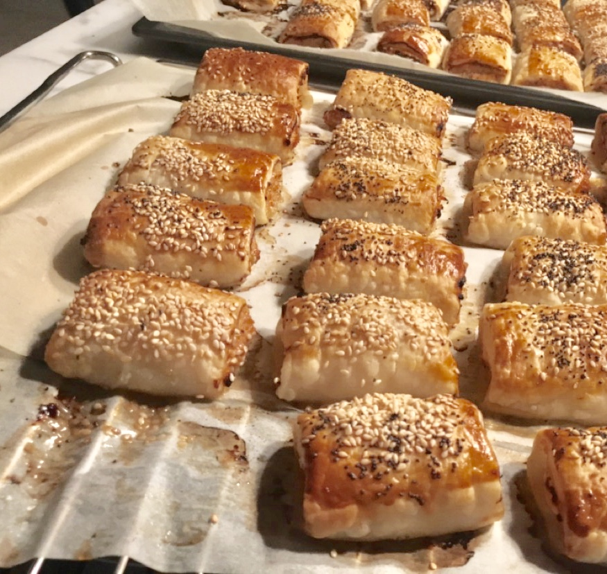 Freshly made sausage rolls.