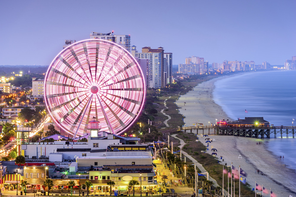 Downtown Myrtle Beach featuring great resturants, attractions, and concerts!