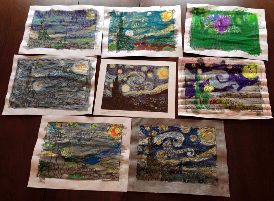 Our versions of Vincent van Gogh's Starry Night we made last year.