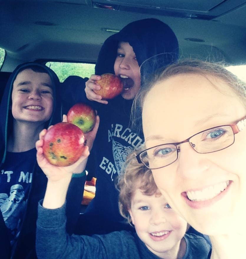 Learning about apples at an orchard is fun for us all, especially when we get yummy treats for the ride home.