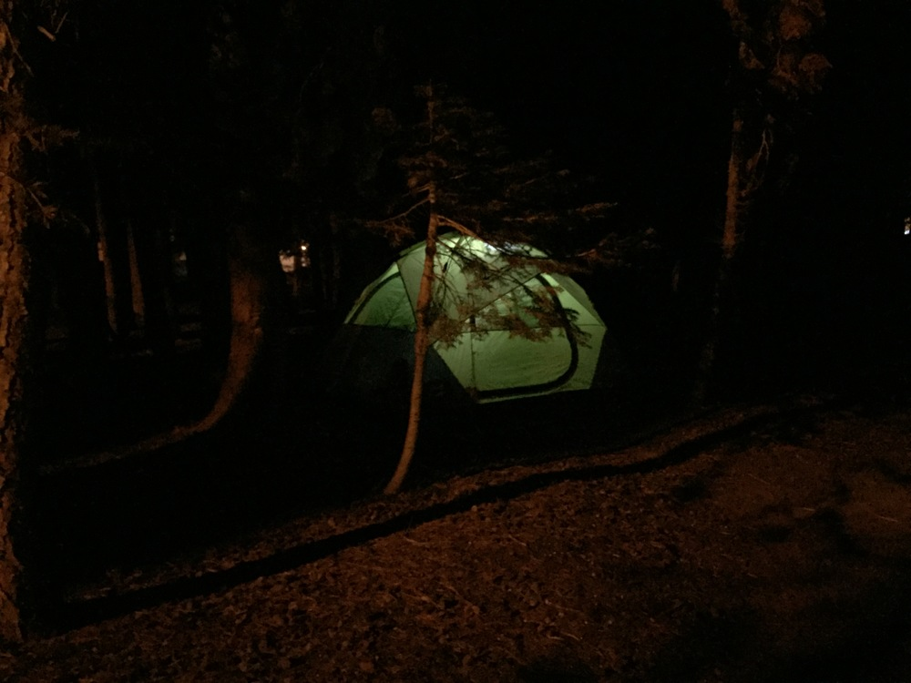 I love seeing all the tents glowing at night.