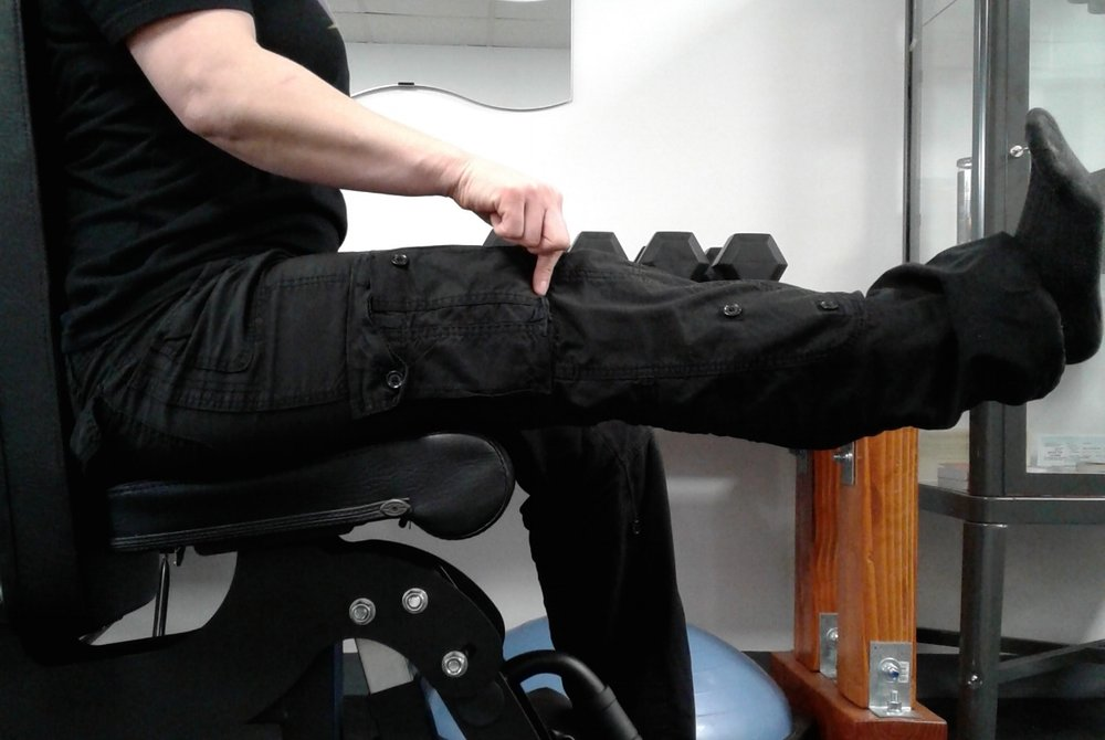 Extend so that you feel the squeeze of your muscles just above the kneecap.