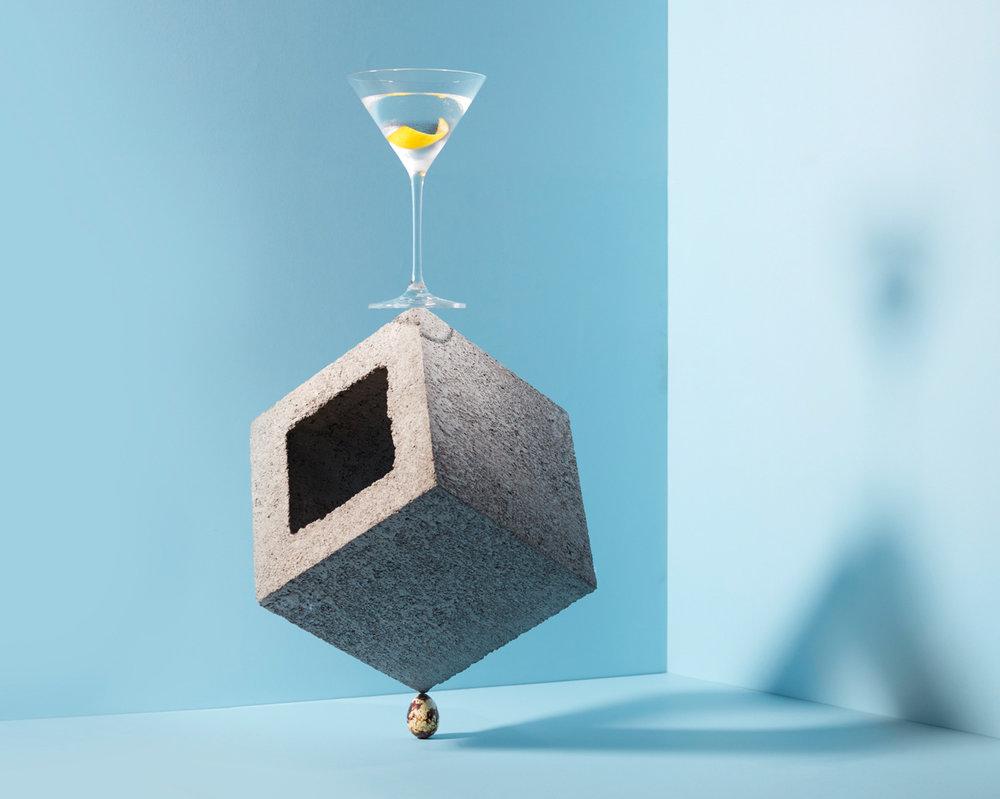 Dry Martini (Montgomery's 15:1 ratio)  2 Shots Four Pillars Gin  1/8 Shot Maidenii DryVermouth  1 Dash Angostura Bitters
