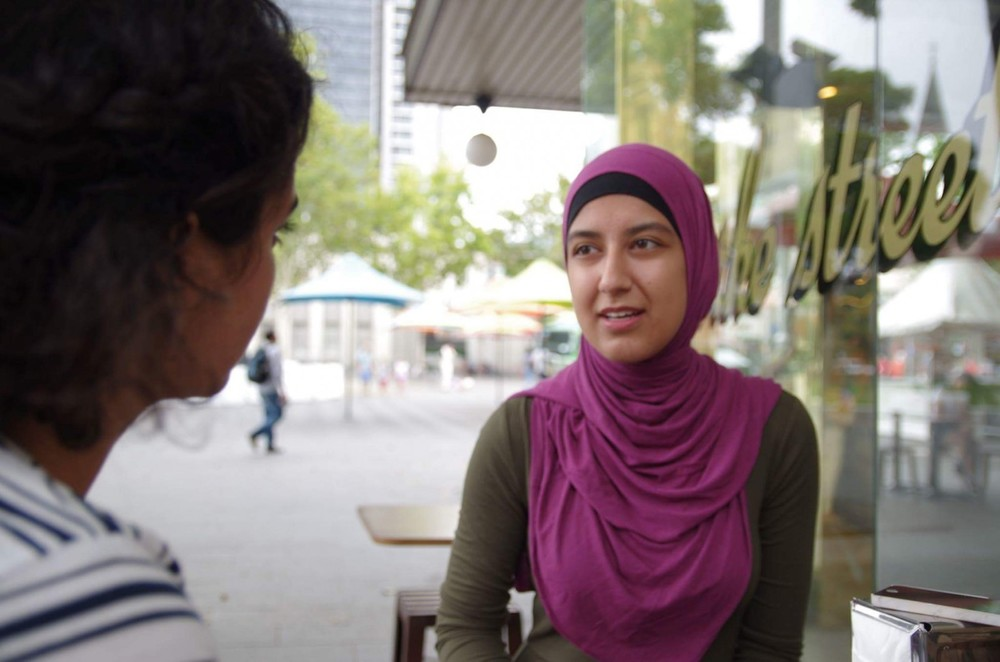 Leyla sits down with Mariam and May outside of Bourke St Bakery in Parramatta Square