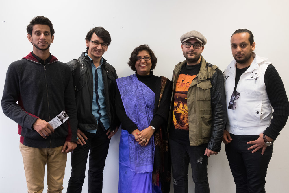Artists (from left to right), Mohaned, Wali, Anamika, Damon and Mohammed pause for a photo during the launch