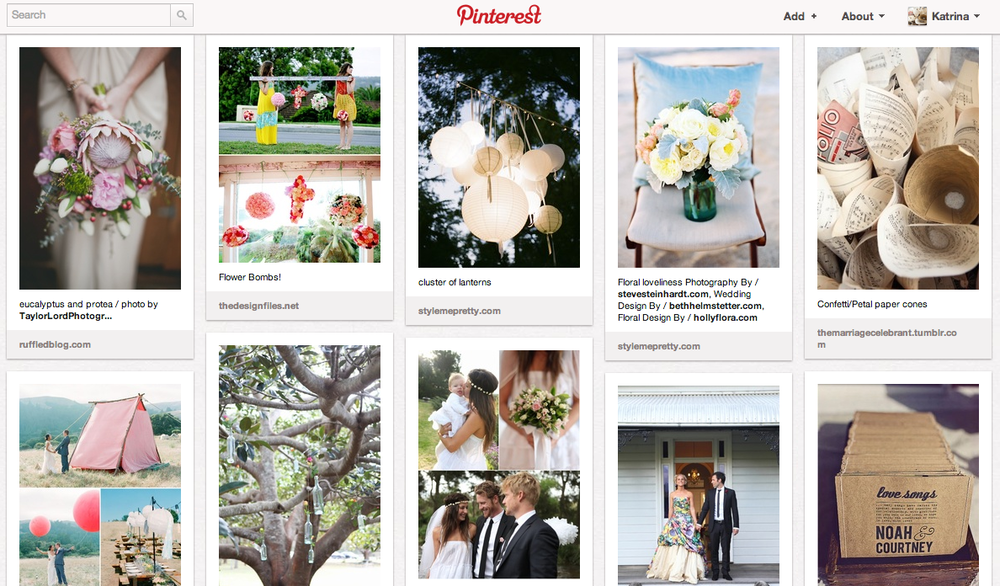 Here is the link to my Pinterest 'Weddings' Board. Another home for inspiring wedding images. http://pinterest.com/katrinamcgarry/weddings