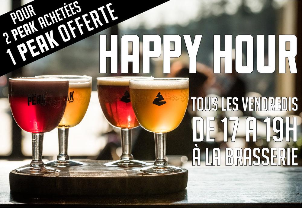 Venez dès la sortie du bureau profitez de notre Happy Hour ! A l'achat de 2  PEAK , nous vous offrons la troisième !
