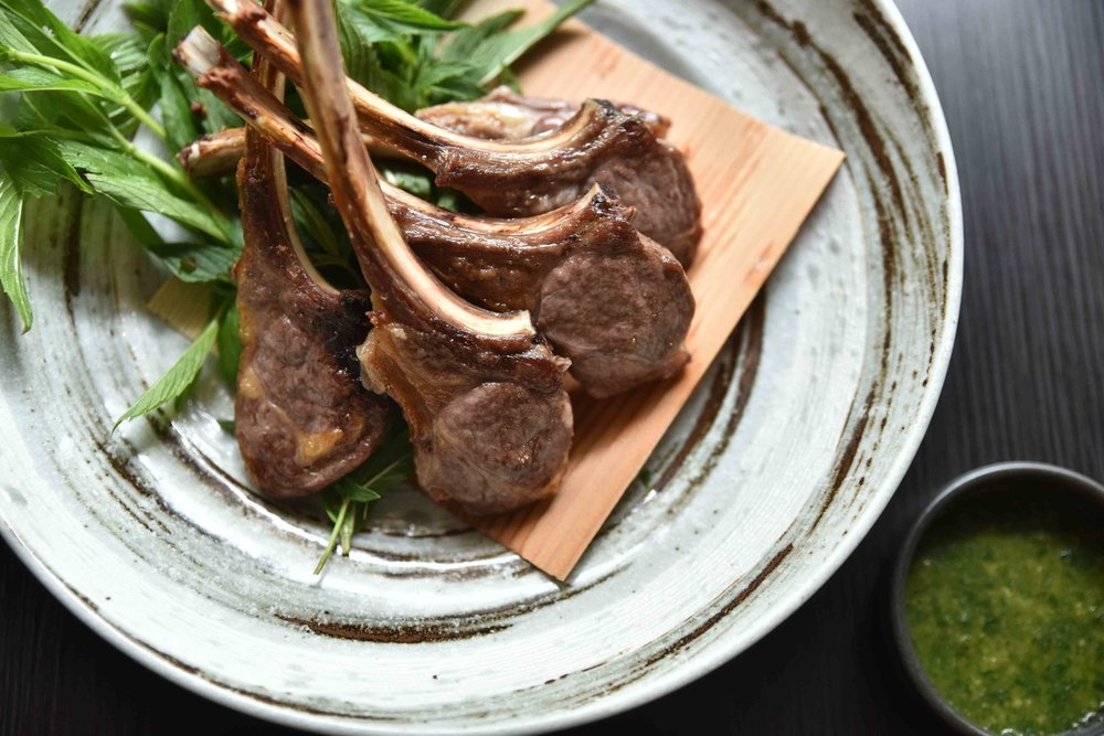 Kaiseki Summer - Lamb chops charcoal grilled served with mint vinaigrette