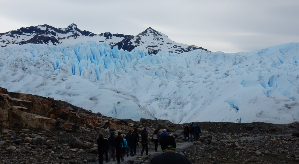 Excitement builds as we get closer to the glacier as we walk along the rocky beach