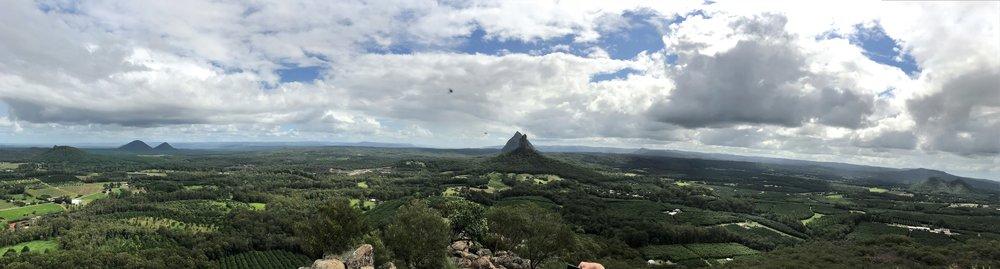 View from summit Mt Ngungun - peaks of Mt Beerwah & Mt Coonowrin (Crookneck)