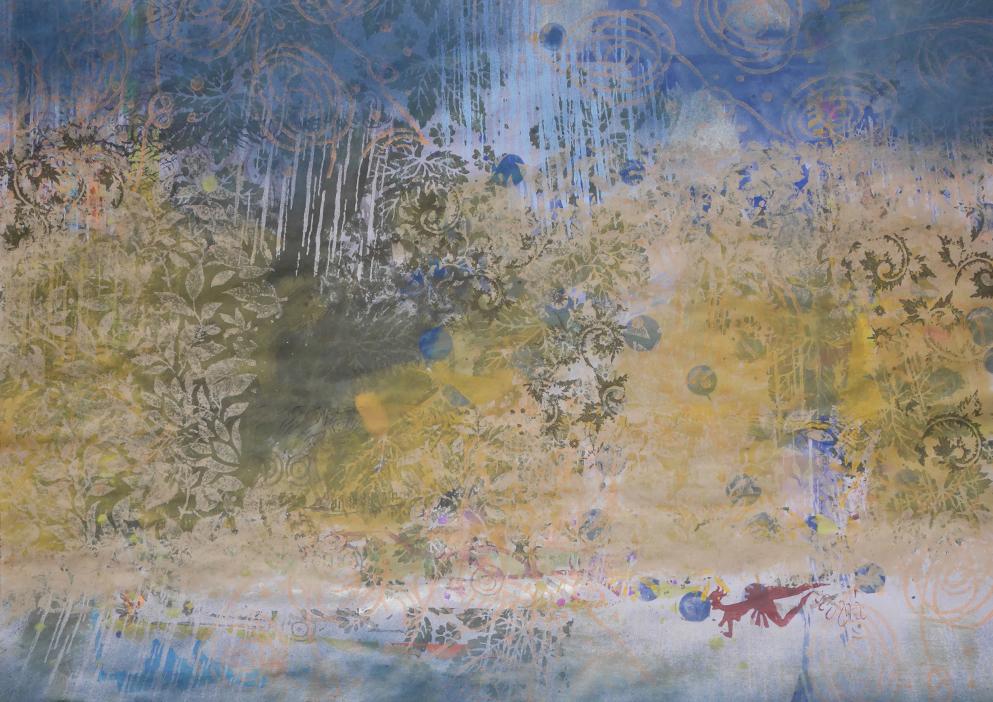 'Schwimmer im Regen', Gouache & Dispersion auf Papier, 84,1 x 59,5 cm