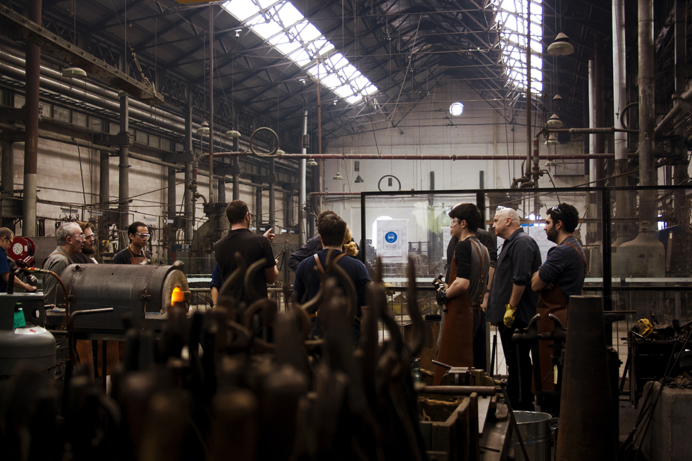 Students learn how to blacksmith at Eveleigh Works in Sydney