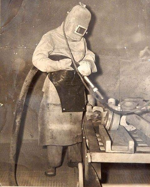 This is a cool old shot shared by one of our recent students, John. It is a photo of his grandfather Bert sandblasting some parts at Eveleigh in the year of 1940. For my eyes he could just as easily be headed to 40,000 leagues under the sea or aboard the next mission to Mars!!