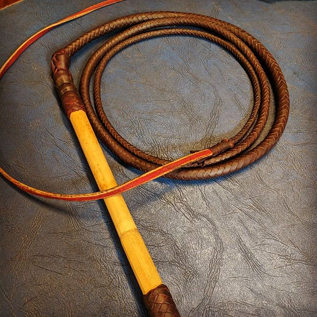 Those that know me know I kinda like to make things, all sorts of things and not always in metal.. This is an 8 plait kangaroo whip I made under the watchful eye of Bill Webb, one of Australia's best whipmakers, who learner his craft under the legendary R.M. Williams (long before the brand became a bit of a laugh in the bush)  The whole thing was made from a single kangaroo skin, tanned 30 meters from where this was made and every single strand of lace for the belly (internal plaited structure), thong (main external plait), handle and more was cut by hand, the way it was always done. No fuss, no waste.  I'm really proud of the result and even more proud that I shared the journey with my mum who stood next to me for 3 days straight as we both turned a flat roof skin into an heirloom.
