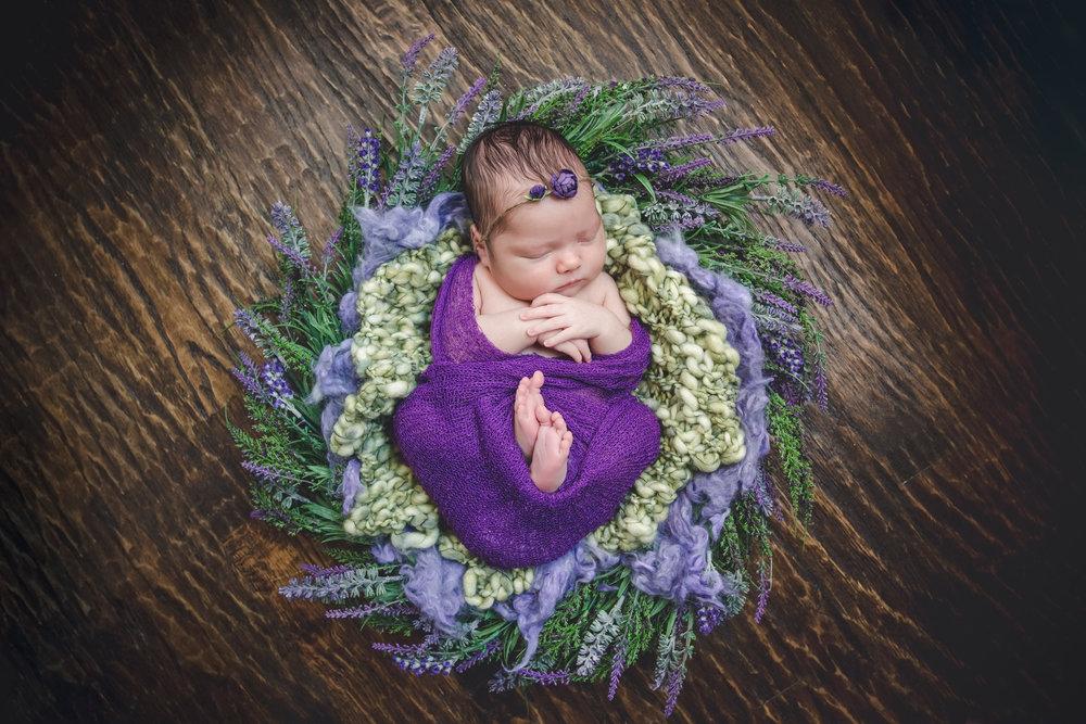 Lavender Wreath, purple wrap & bow, green wool, purple wool