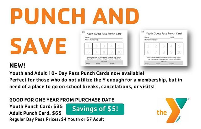 Did you know we have punch cards for day passes that save you $5?! Perfect for the snow days like today and good for a whole year! Call us for more information 258-2388📋