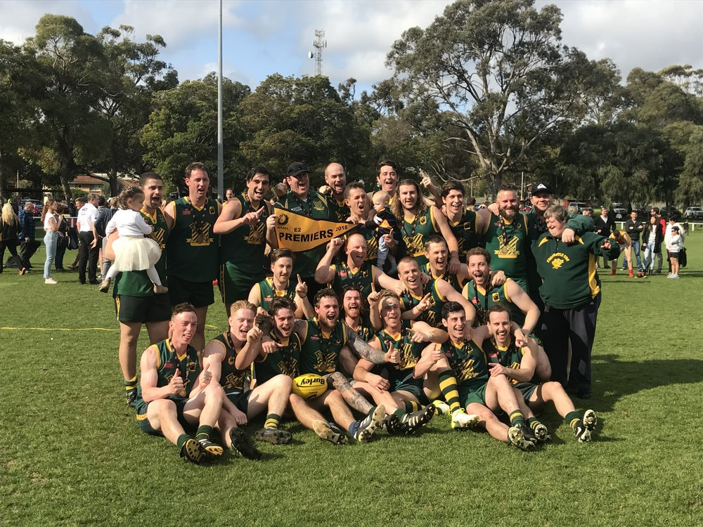2018 Season Wrap-up - E2 Premiers!Congratulations on our boys winning a premiership. Great effort by coach, Ryan Hinchliffe in guiding a mix of experience and youth to the ultimate.It is difficult losing grand finals and our A Grade and D Grade got to the big stage without the result we wanted, but overtime we can say all our teams had a successful year and we have a terrific group of colts who will nearly all plat together again.Thanks to all coaches and support staff for their time given to our club in 2018.Looking forward to a big 2019!