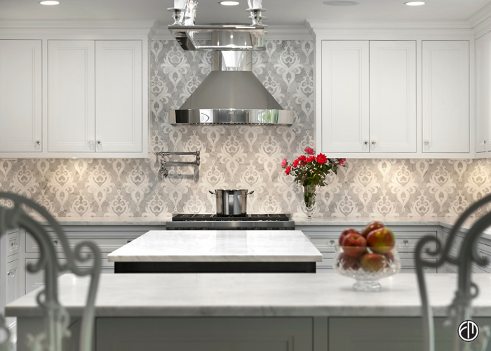 Thereu0027s A Wide Range Of Backsplashes Available To Make Your Dream Kitchen A  Reality! This Kitchen Features A Custom Marble Mosaic Backsplash With Honed  ...