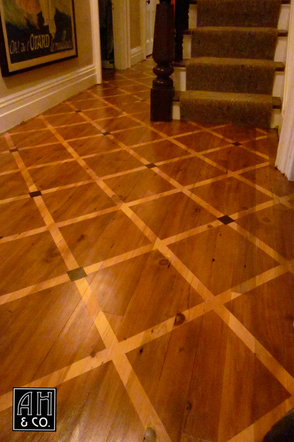 HISTORICAL MULTI COLORED DIAMOND PATTERN WOOD FLOOR