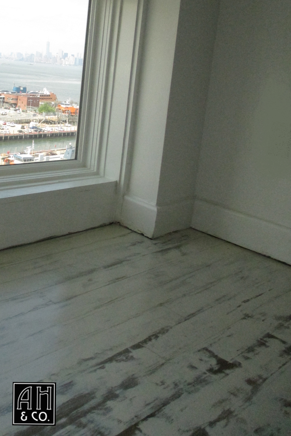 hand painted distressed white loft style wood floor - White Distressed Flooring