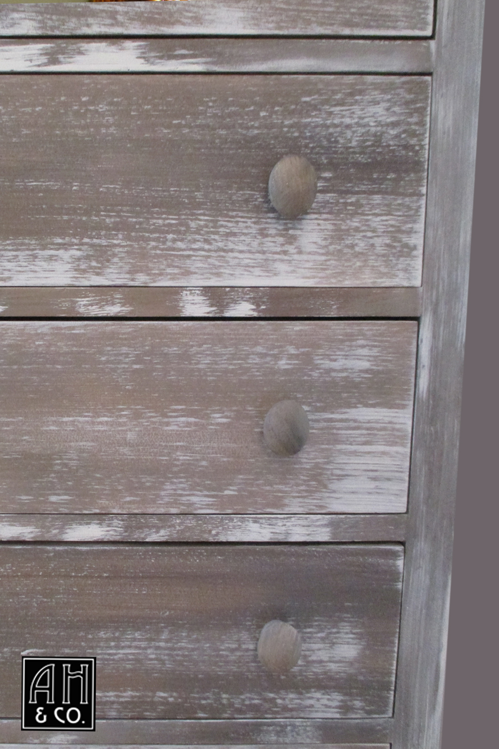 DETAIL: DISTRESSED PALE GRAY DARK WOOD AGED PAINT FINISH
