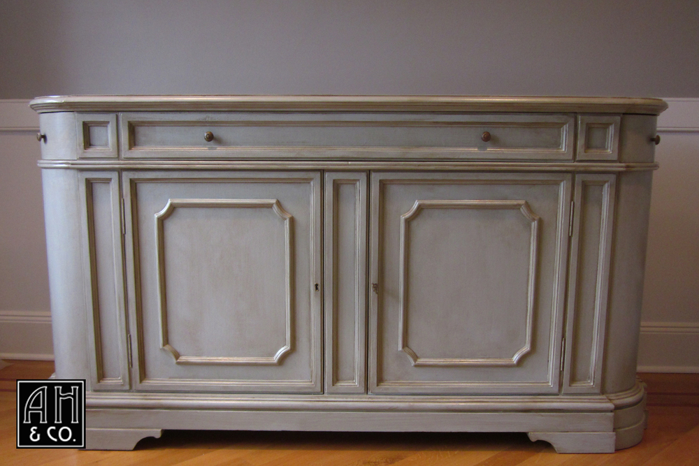 SHORT HILLS, NJ FAUX PAINTED GRAY AGED PATINA BUFFET