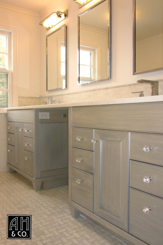 metallic silver strie u0026 white master bathroom vanity finish
