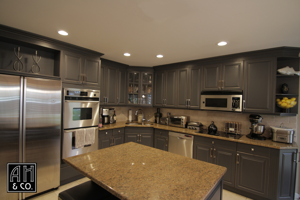 SLATE BLUE REFINISHED KITCHEN CABINETRY
