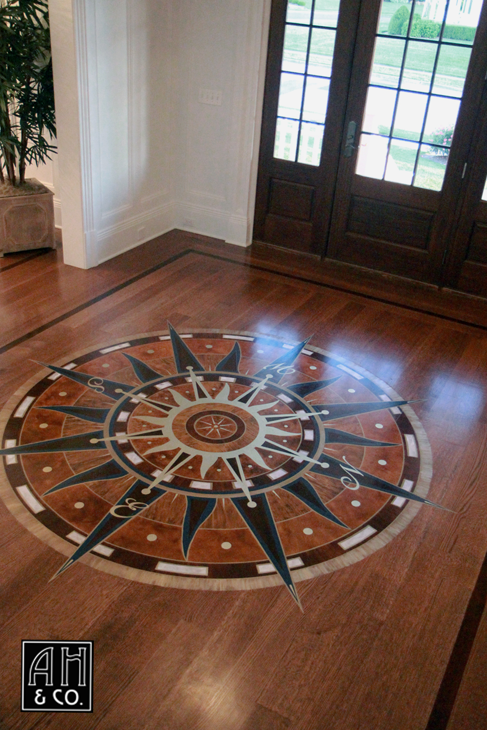 Spring lake nj hand painted entry floor sun theme compass rose