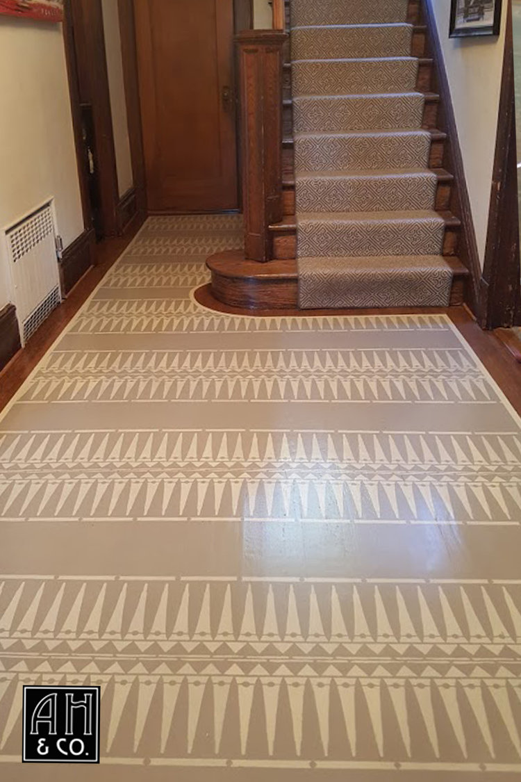 Maplewood NJ Custom Hand Painted Entryway Floor Carpet