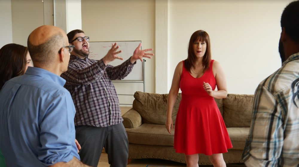 Justin performing in the IMPROV NERD instructional video series. Photo courtesy Carrano Bros. Productions.