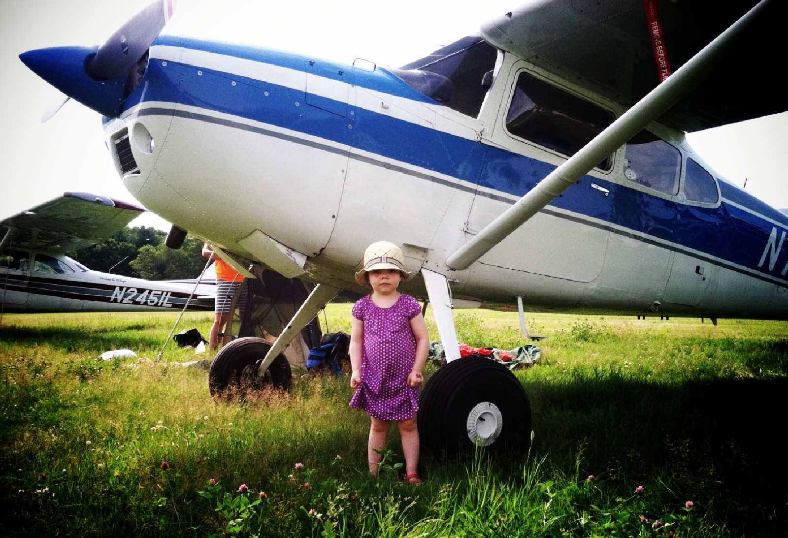 Field trips to airports. Amelia Earhart in the making.
