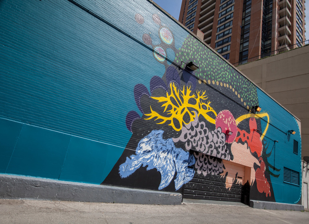 X Marks the Milky Way Mural located at 1130 S Wabash. Completed in May 2016 image courtesy of Shirley Nannini