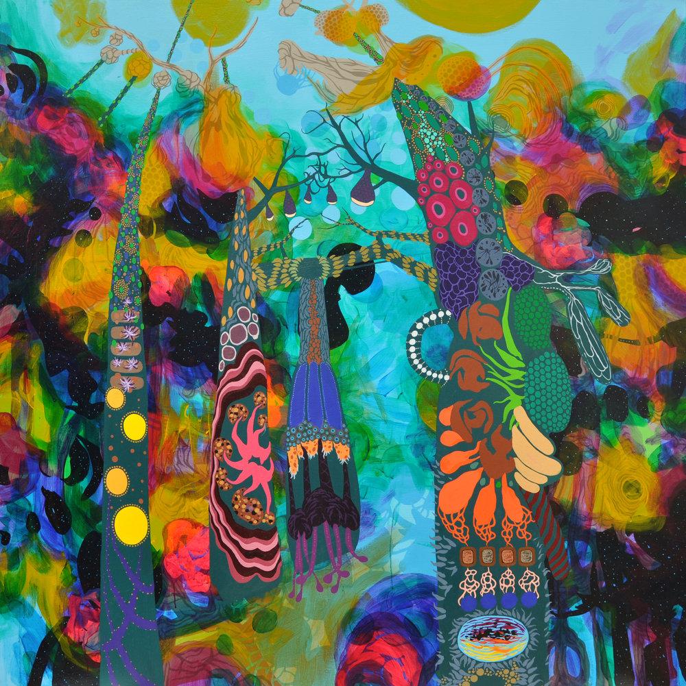 "Nightblooms, Moon Lanterns, & Rockets 60"" x 60"", acrylic on canvas, 2016."