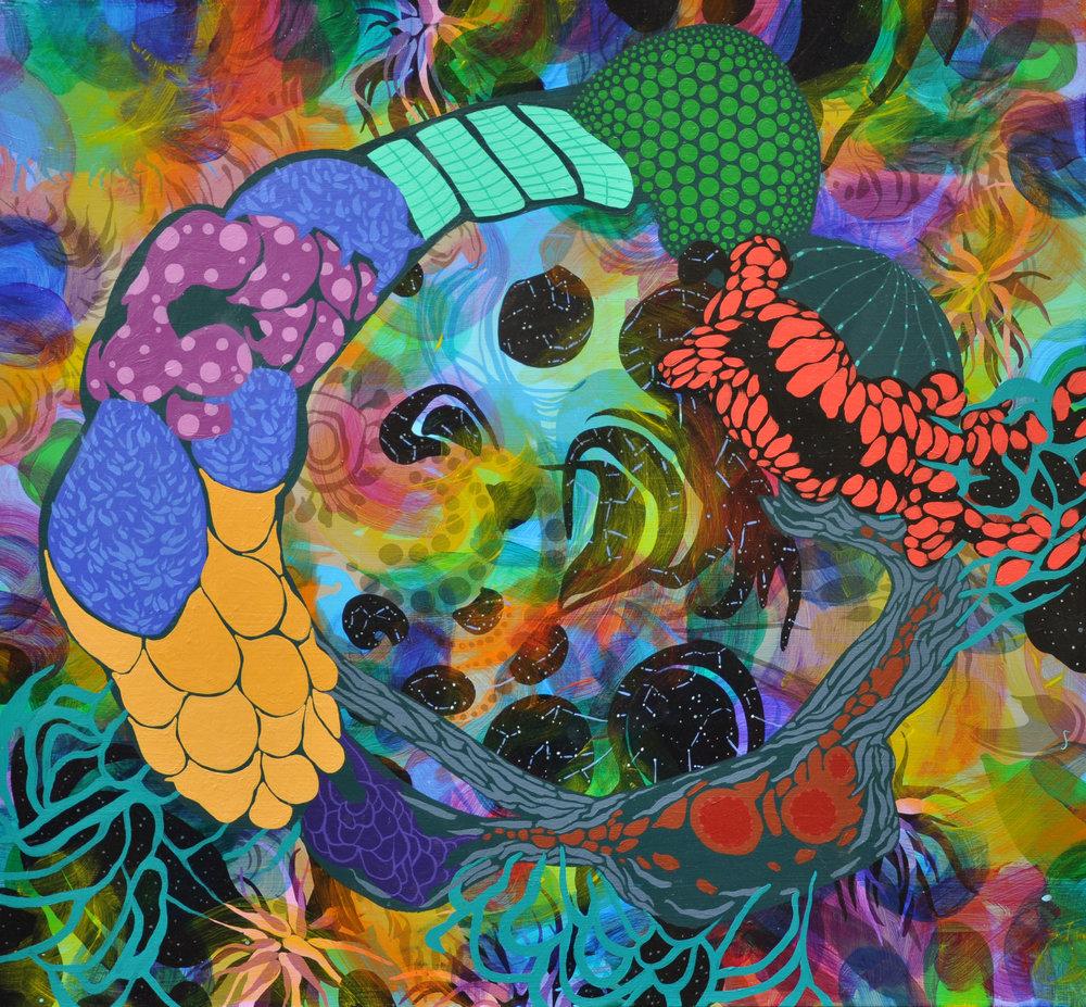 "Wanderlust 22"" x 25"", acrylic on canvas, 2015."