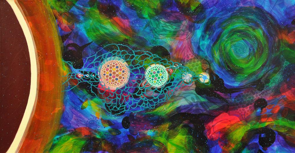 "Plans for a Solar System   20"" x 38"", acrylic on canvas, 2015."