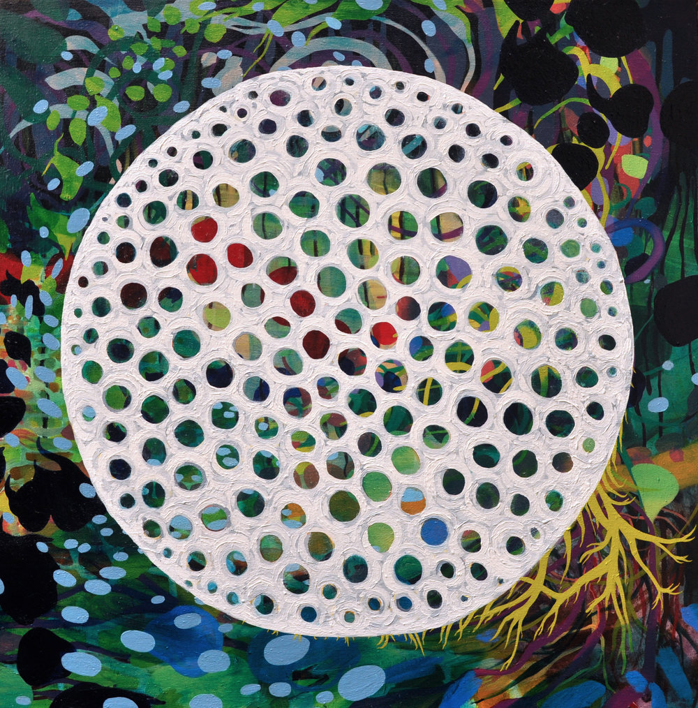"Down the Rabbit Hole 36"" x 36"", acrylic on canvas, 2015."