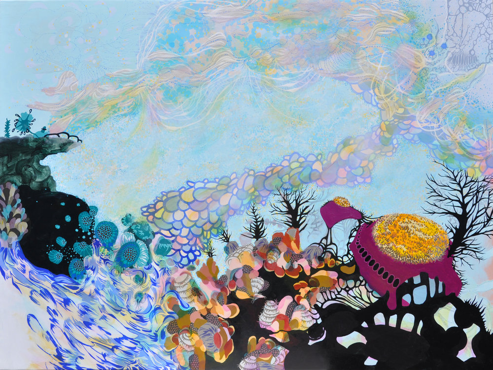 "Holographic Frontier 30"" x 42"", acrylic on panel, 2012"