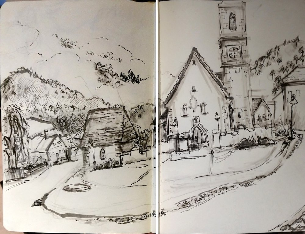 Sketching Tschengls, the closest town to the farm.