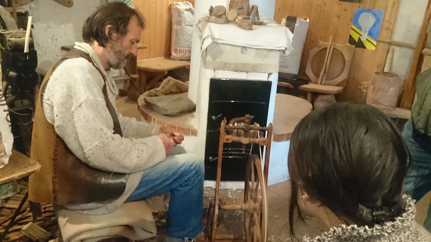 On the weekend, we drove an hour further into the mountains to visit Martin, a master spinner and leather maker in South Tyrol. He is one of the few people who still makes yarn by hand to sell to local weavers.