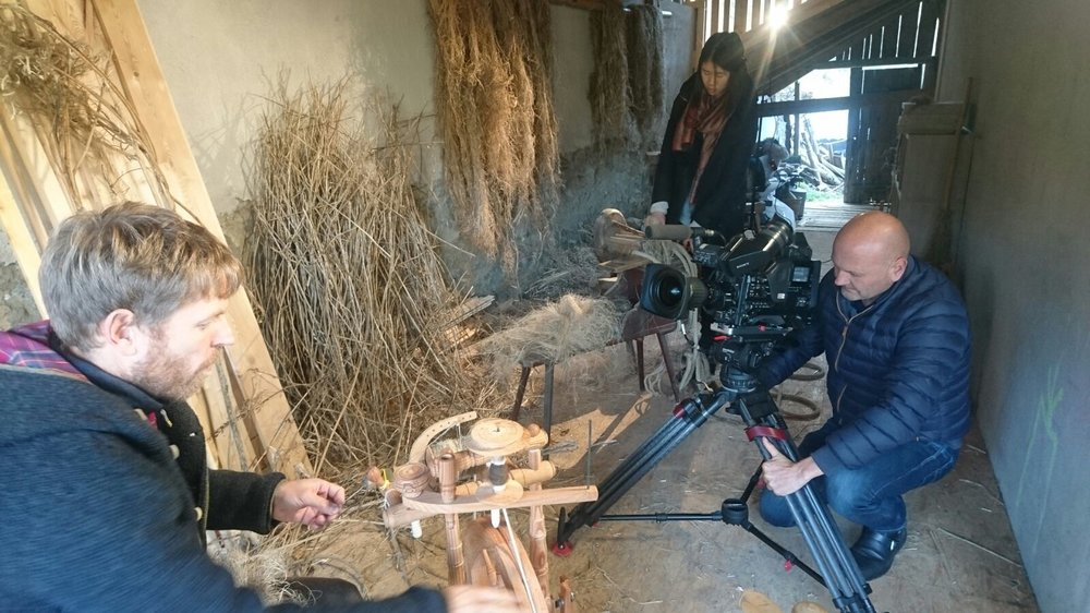 A local Italian production company came to the farm to film a documentary on hemp production. My host's friend, Andreas is demonstrating how to spin the fiber using a traditional castle wheel. The documentary will be be aired at the end of this year.