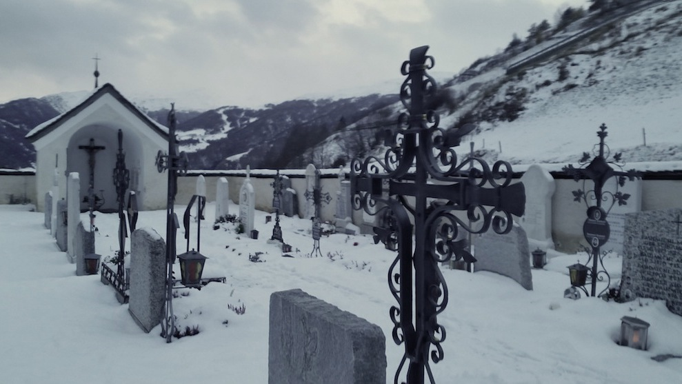 Cemetery in the mountain town of Planol, where a friend of Werner's who is a handweaver lives.