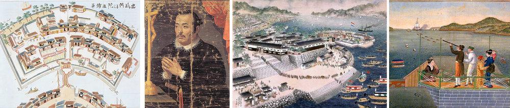 From left: 1. Birds eye depiction of Dejima Island 2. Japanese nobleman Hasekura Tsunenaga's conversion to Christianity 3. Bay of Dejima 4. Philipp Franz von Siebold, resident physician stationed at Dejima with wife Taki Kusumoto and baby daughter Ine Kusumoto