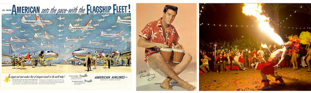 1. 1950 American Airlines Travel Poster, 2. Elvis Presley with Bongo Drums 3. Pacific Island Entertainment Show