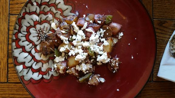 Garden potatoes and homemade goat cheese.