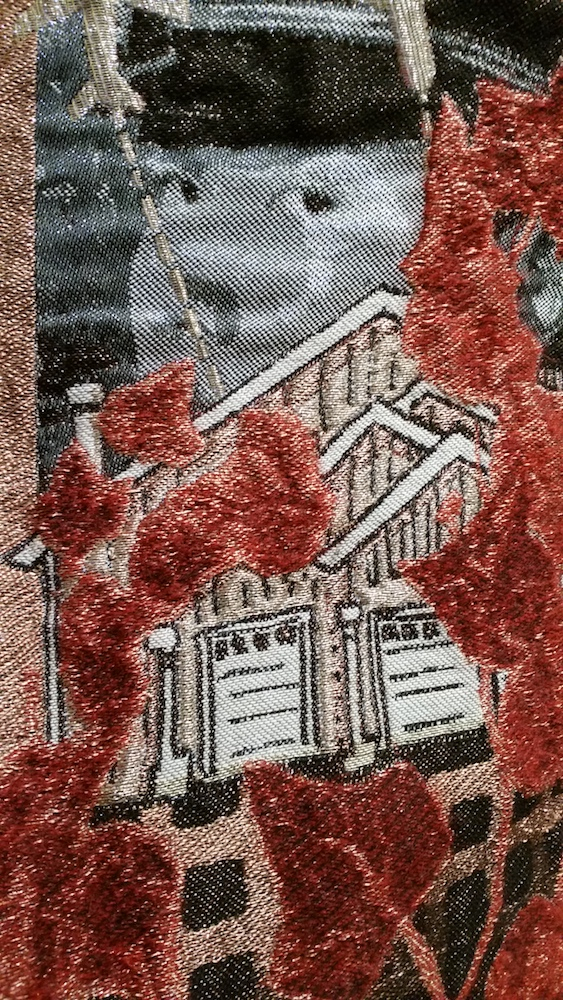 "A close up detail of the final 54"" x 2 yd length. My childhood house back in Seattle appears behind the red mohair leaves."